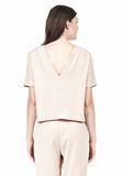 T by ALEXANDER WANG DRAPE SUITING V BACK SHORT SLEEVE TOP TOP Adult 8_n_d