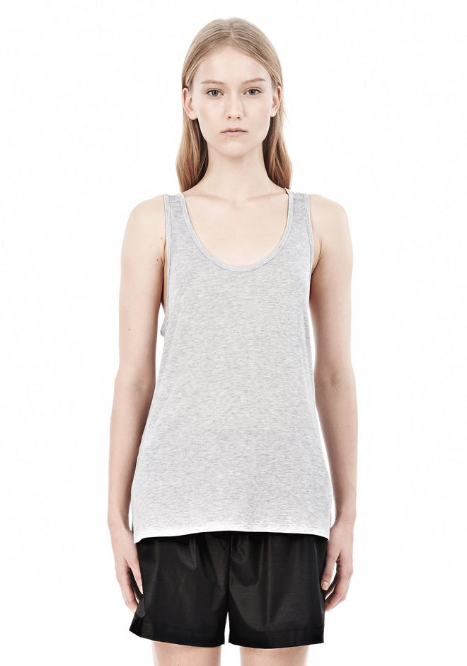 T by ALEXANDER WANG SOFT MELANGE JERSEY TANK TOP Adult 12_n_e