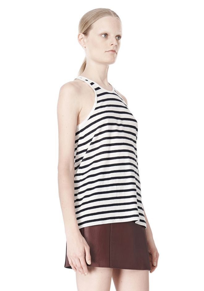T by ALEXANDER WANG STRIPE LINEN COTTON TANK TOP Adult 12_n_a