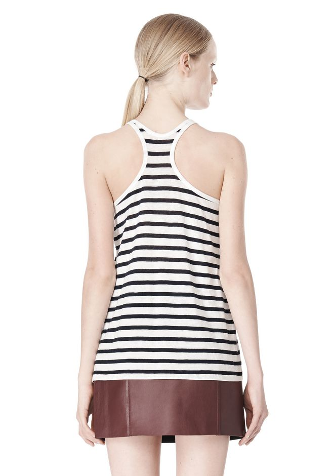T by ALEXANDER WANG STRIPE LINEN COTTON TANK TOP Adult 12_n_d