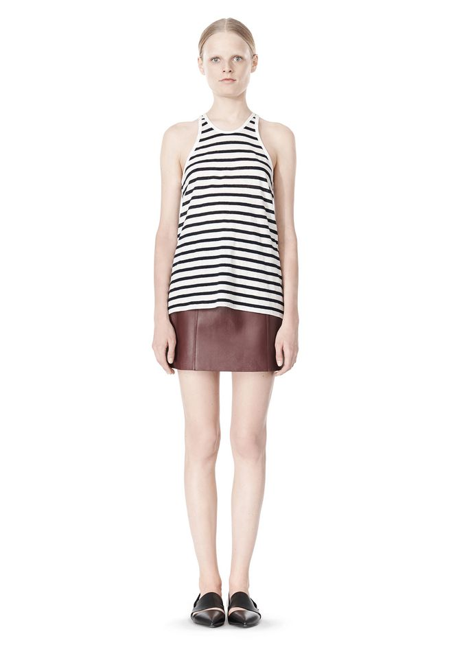 T by ALEXANDER WANG STRIPE LINEN COTTON TANK TOP Adult 12_n_f