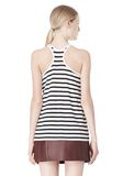 T by ALEXANDER WANG STRIPE LINEN COTTON TANK TOP Adult 8_n_d