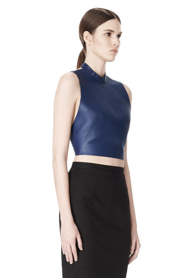ALEXANDER WANG CROPPED HALTERNECK LEATHER TOP  TOP Adult 12_n_a