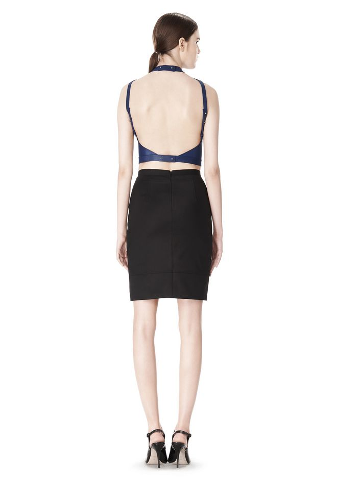 ALEXANDER WANG CROPPED HALTERNECK LEATHER TOP  TOP Adult 12_n_r