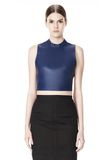 ALEXANDER WANG CROPPED HALTERNECK LEATHER TOP  TOP Adult 8_n_d