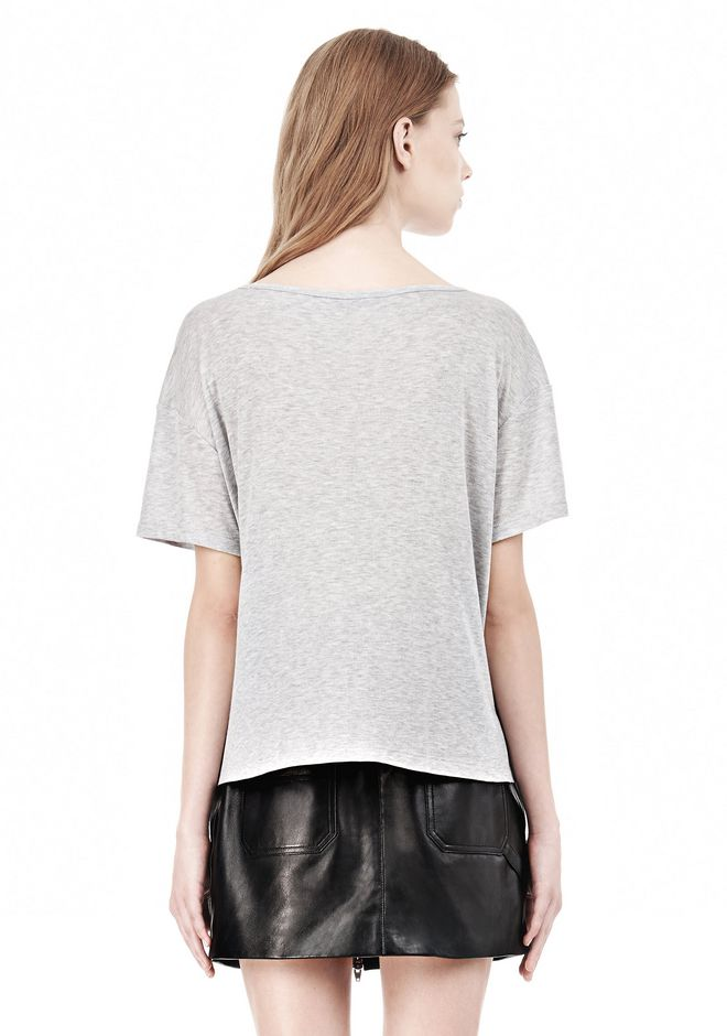 T by ALEXANDER WANG HEATHER LINEN JERSEY CREWNECK SHORT SLEEVE TEE TOP Adult 12_n_d