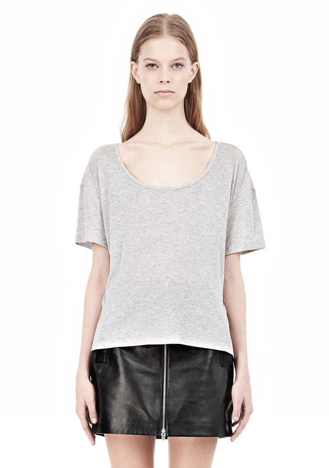 T by ALEXANDER WANG HEATHER LINEN JERSEY CREWNECK SHORT SLEEVE TEE TOP Adult 12_n_e