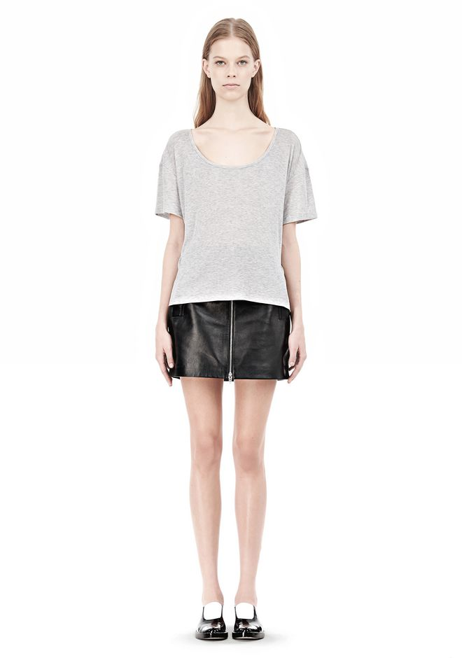 T by ALEXANDER WANG HEATHER LINEN JERSEY CREWNECK SHORT SLEEVE TEE TOP Adult 12_n_f