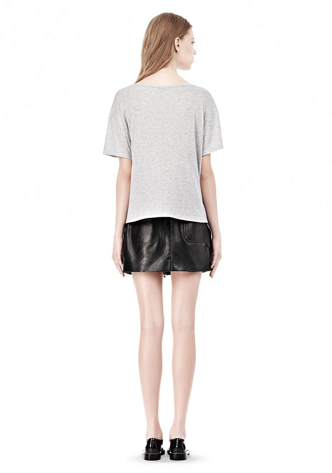 T by ALEXANDER WANG HEATHER LINEN JERSEY CREWNECK SHORT SLEEVE TEE TOP Adult 12_n_r