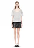 T by ALEXANDER WANG HEATHER LINEN JERSEY CREWNECK SHORT SLEEVE TEE TOP Adult 8_n_f