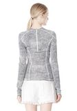 T by ALEXANDER WANG GEORGETTE LONG SLEEVE SCUBA TOP TOP Adult 8_n_d