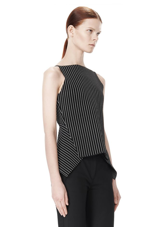 ALEXANDER WANG MIXED PINSTRIPE PEPLUM TOP TOP Adult 12_n_a