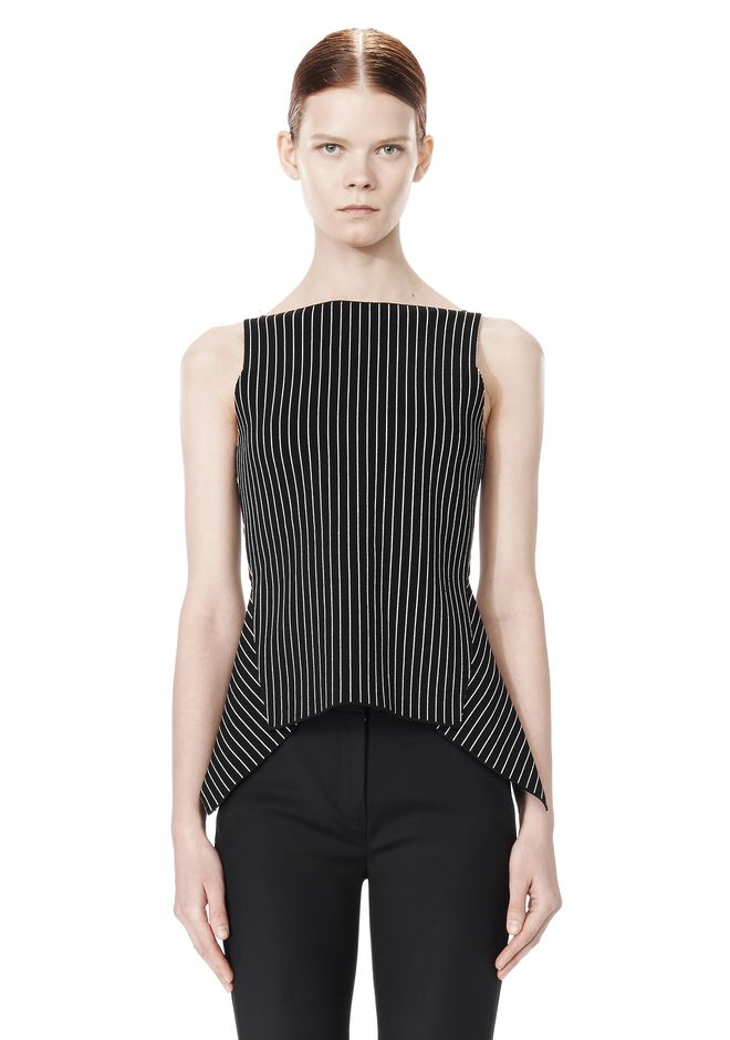 ALEXANDER WANG MIXED PINSTRIPE PEPLUM TOP TOP Adult 12_n_e