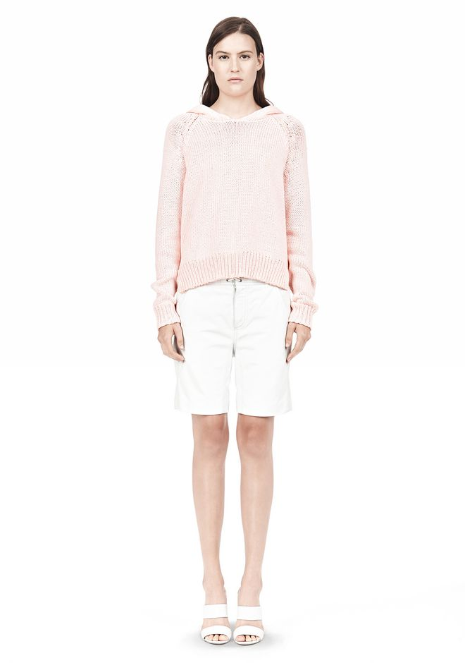 T by ALEXANDER WANG SPECKLED KNITTED HOODIE TOP Adult 12_n_f
