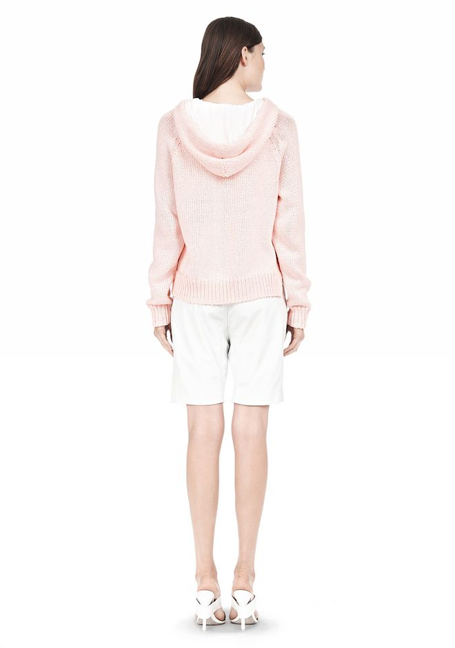 T by ALEXANDER WANG SPECKLED KNITTED HOODIE TOP Adult 12_n_r