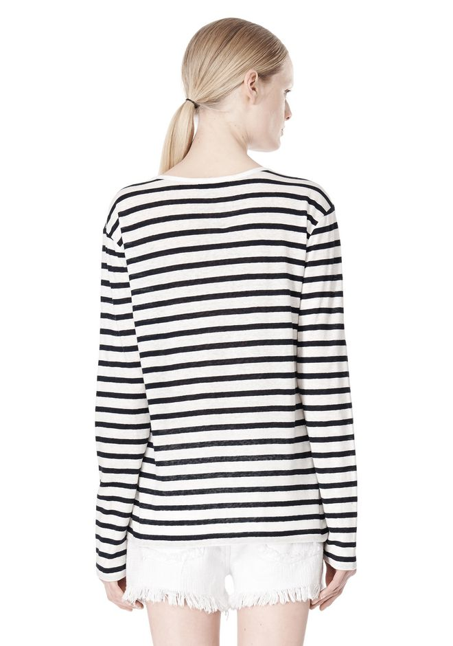 T by ALEXANDER WANG STRIPED LINEN COTTON LONG SLEEVE TEE TOP Adult 12_n_d
