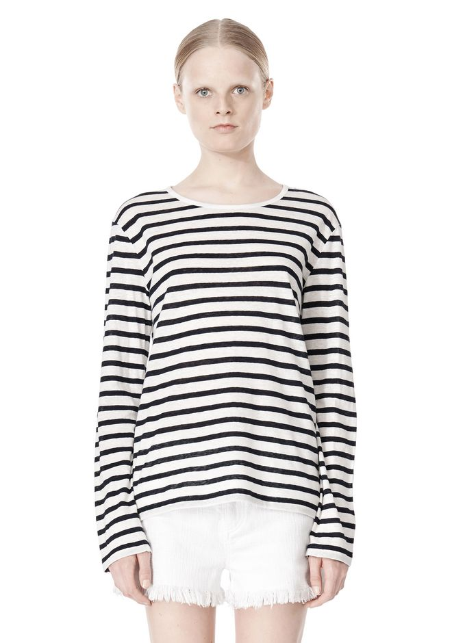 T by ALEXANDER WANG STRIPED LINEN COTTON LONG SLEEVE TEE TOP Adult 12_n_e