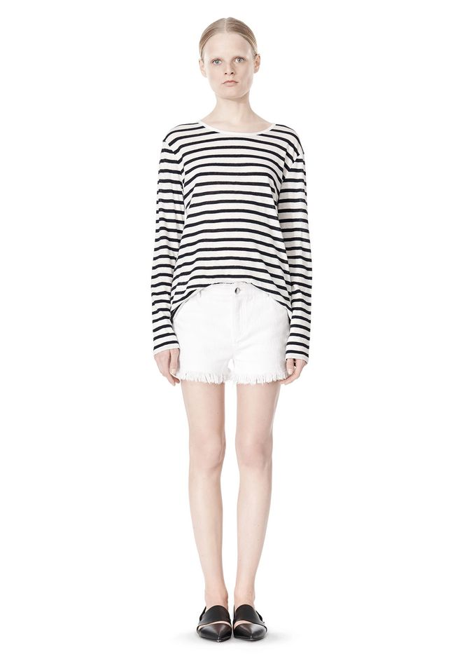 T by ALEXANDER WANG STRIPED LINEN COTTON LONG SLEEVE TEE TOP Adult 12_n_f