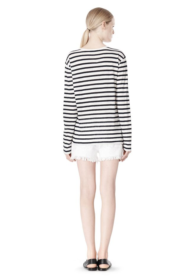 T by ALEXANDER WANG STRIPED LINEN COTTON LONG SLEEVE TEE TOP Adult 12_n_r