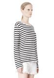 T by ALEXANDER WANG STRIPED LINEN COTTON LONG SLEEVE TEE TOP Adult 8_n_a