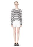 T by ALEXANDER WANG STRIPED LINEN COTTON LONG SLEEVE TEE TOP Adult 8_n_f