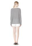 T by ALEXANDER WANG STRIPED LINEN COTTON LONG SLEEVE TEE TOP Adult 8_n_r