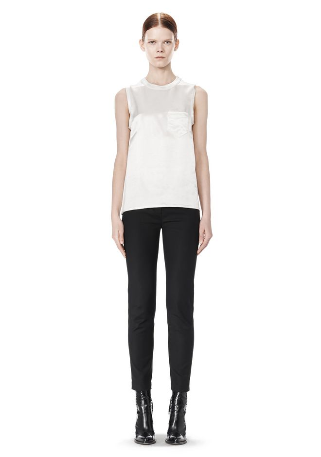 ALEXANDER WANG CREWNECK TOP WITH DISTRESSED BACK DETAIL TOP Adult 12_n_f