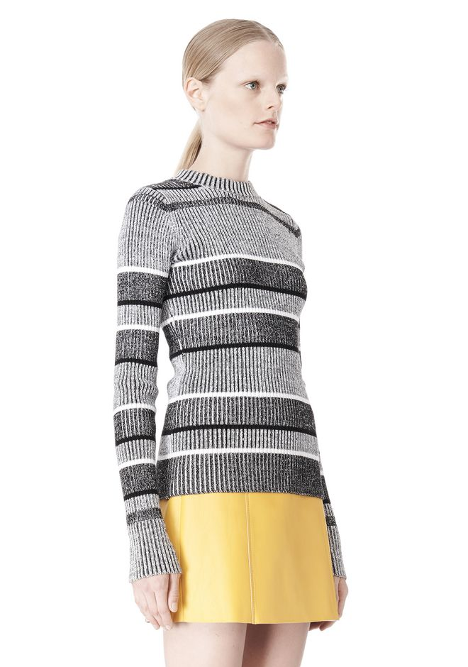 T by ALEXANDER WANG RIB KNIT LONG SLEEVE MOCK NECK TOP TOP Adult 12_n_a