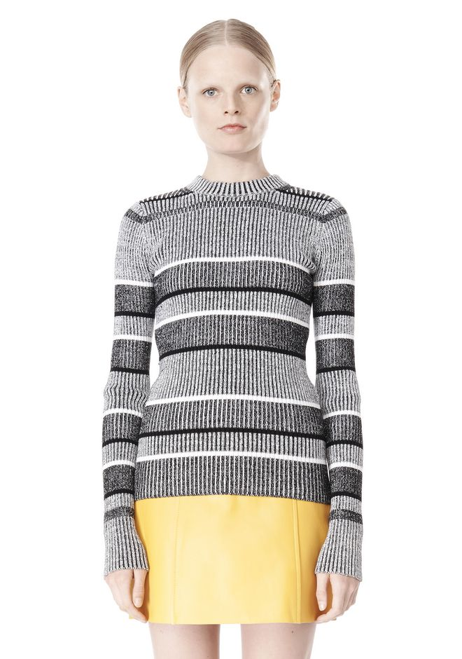 T by ALEXANDER WANG RIB KNIT LONG SLEEVE MOCK NECK TOP TOP Adult 12_n_e