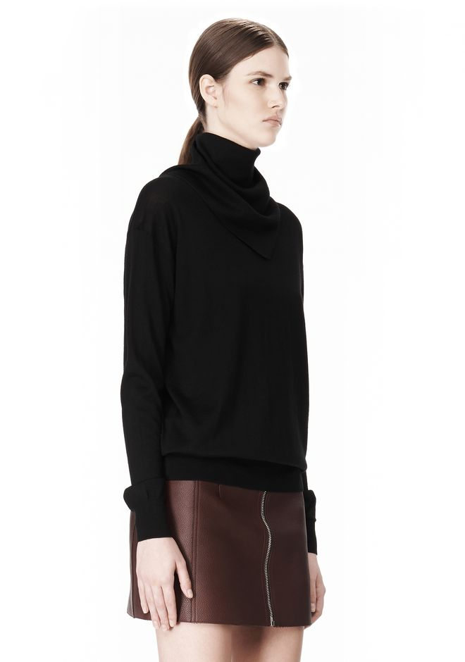 ALEXANDER WANG PULLOVER WITH ZIP BANDANA TOP Adult 12_n_a