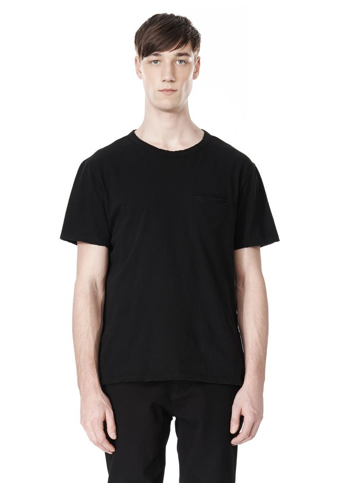 T by ALEXANDER WANG DISTRESSED SLUB COTTON JERSEY CREWNECK TEE /DEL Adult 12_n_e
