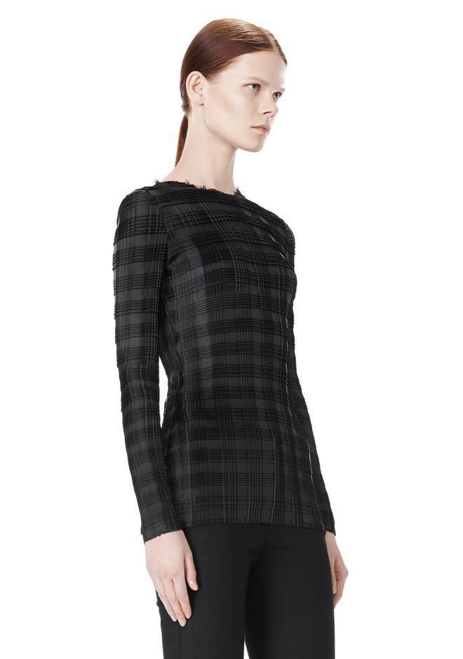 ALEXANDER WANG EXCLUSIVE LONG SLEEVE PLEATED TOP WITH RAW EDGE TOP Adult 12_n_a