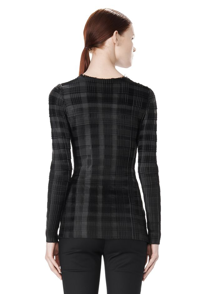 ALEXANDER WANG EXCLUSIVE LONG SLEEVE PLEATED TOP WITH RAW EDGE TOP Adult 12_n_d