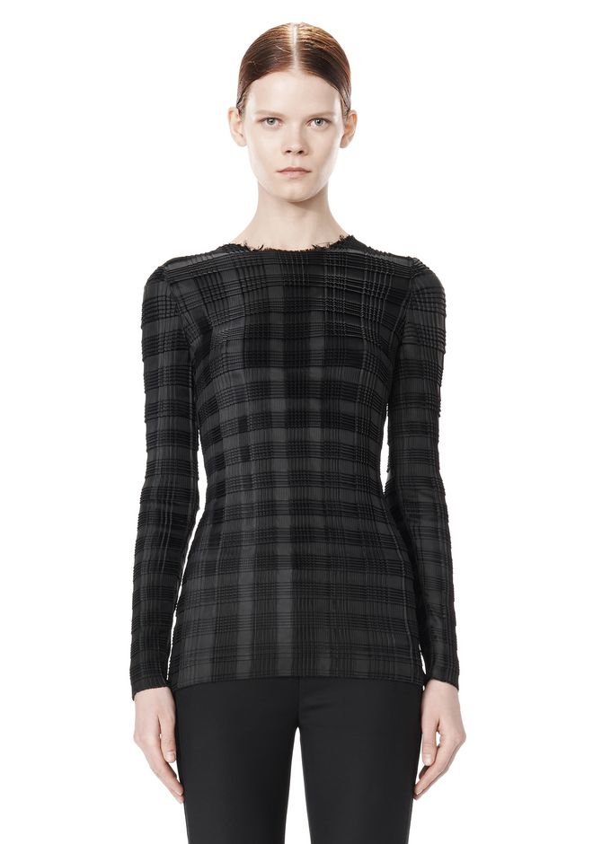 ALEXANDER WANG EXCLUSIVE LONG SLEEVE PLEATED TOP WITH RAW EDGE TOP Adult 12_n_e