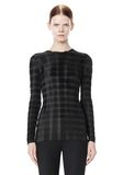 ALEXANDER WANG EXCLUSIVE LONG SLEEVE PLEATED TOP WITH RAW EDGE TOP Adult 8_n_e