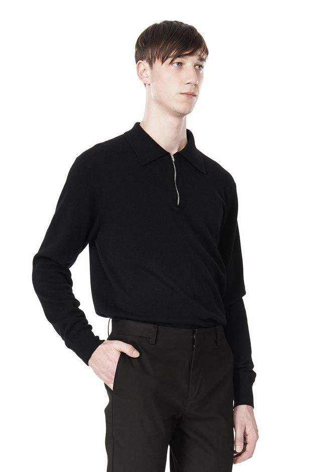 ALEXANDER WANG LONG SLEEVE ZIP  POLO SHIRT TOP Adult 12_n_a