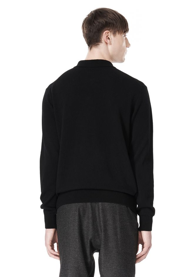 ALEXANDER WANG LONG SLEEVE ZIP  POLO SHIRT TOP Adult 12_n_d