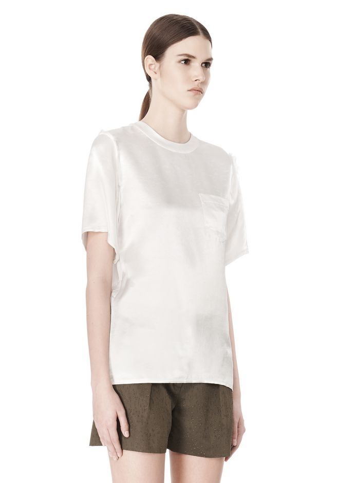 ALEXANDER WANG T-SHIRT WITH EXPOSED DISTRESSED BACK TOP Adult 12_n_a