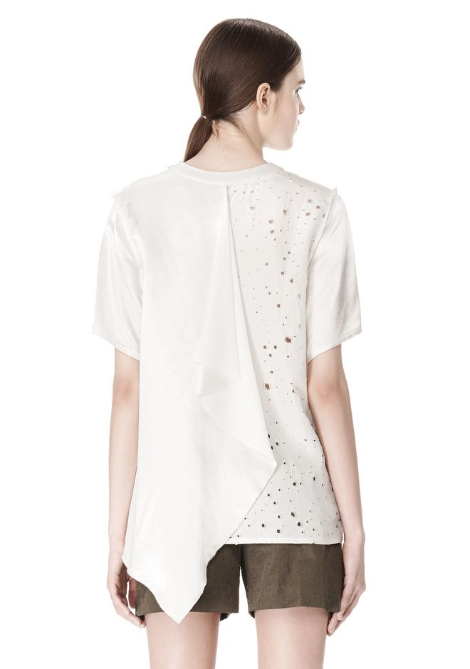 ALEXANDER WANG T-SHIRT WITH EXPOSED DISTRESSED BACK TOP Adult 12_n_e