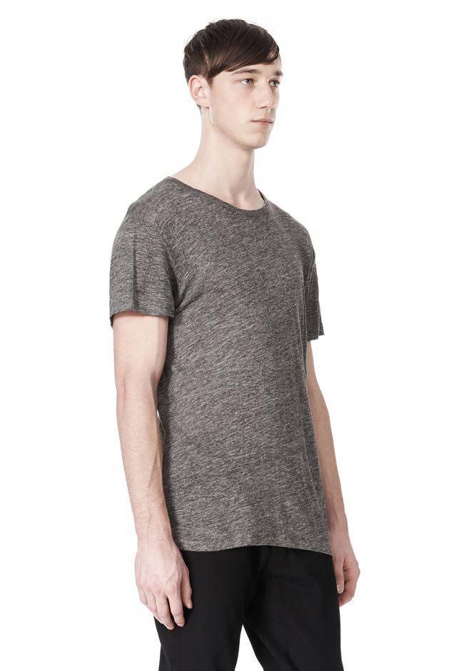 T by ALEXANDER WANG HEATHER LINEN CREWNECK SHORT SLEEVE TEE TOP Adult 12_n_a