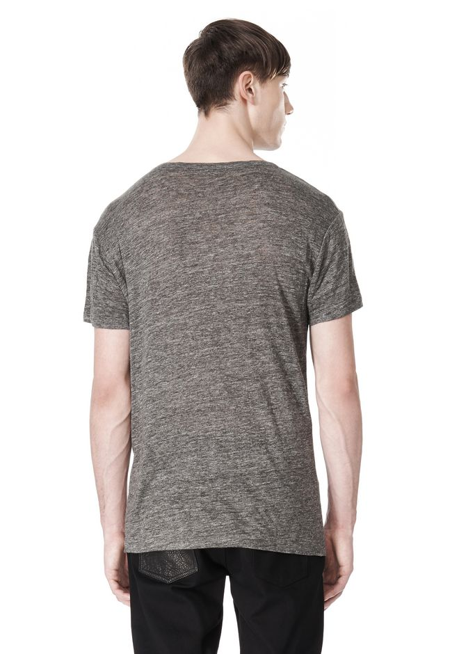T by ALEXANDER WANG HEATHER LINEN CREWNECK SHORT SLEEVE TEE TOP Adult 12_n_d