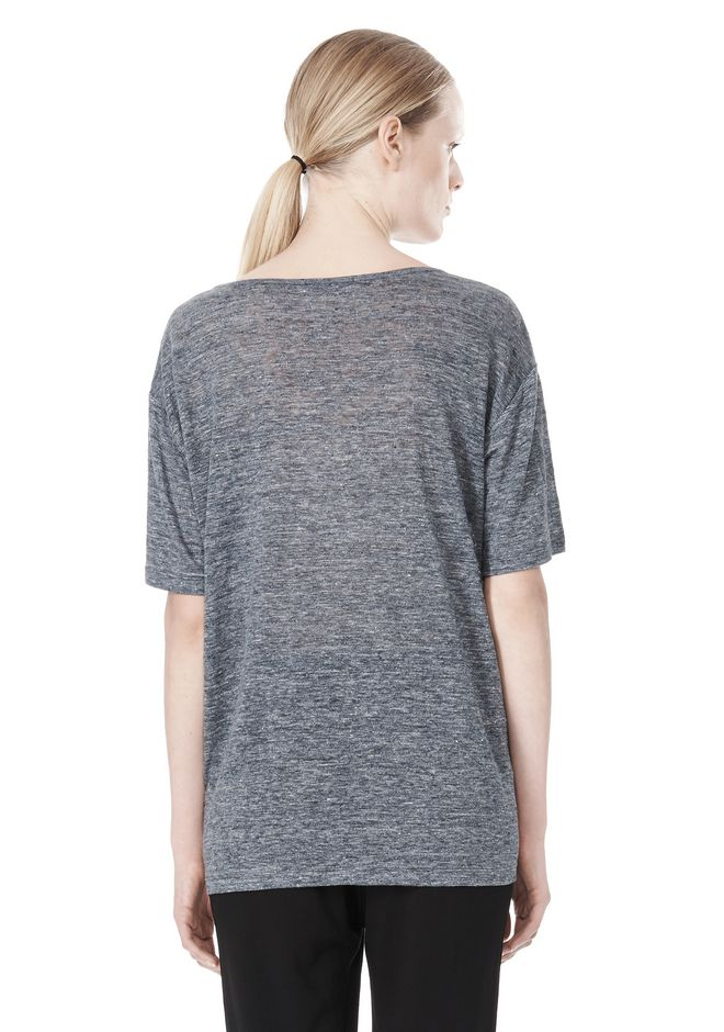 T by ALEXANDER WANG HEATHER LINEN OVERSIZED TEE TOP Adult 12_n_d