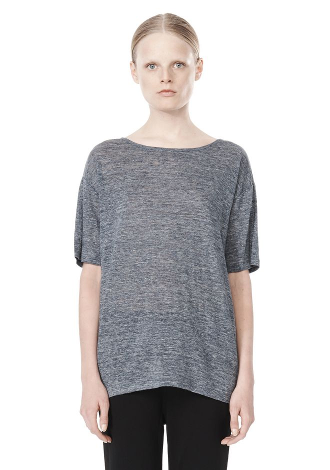 T by ALEXANDER WANG HEATHER LINEN OVERSIZED TEE TOP Adult 12_n_e