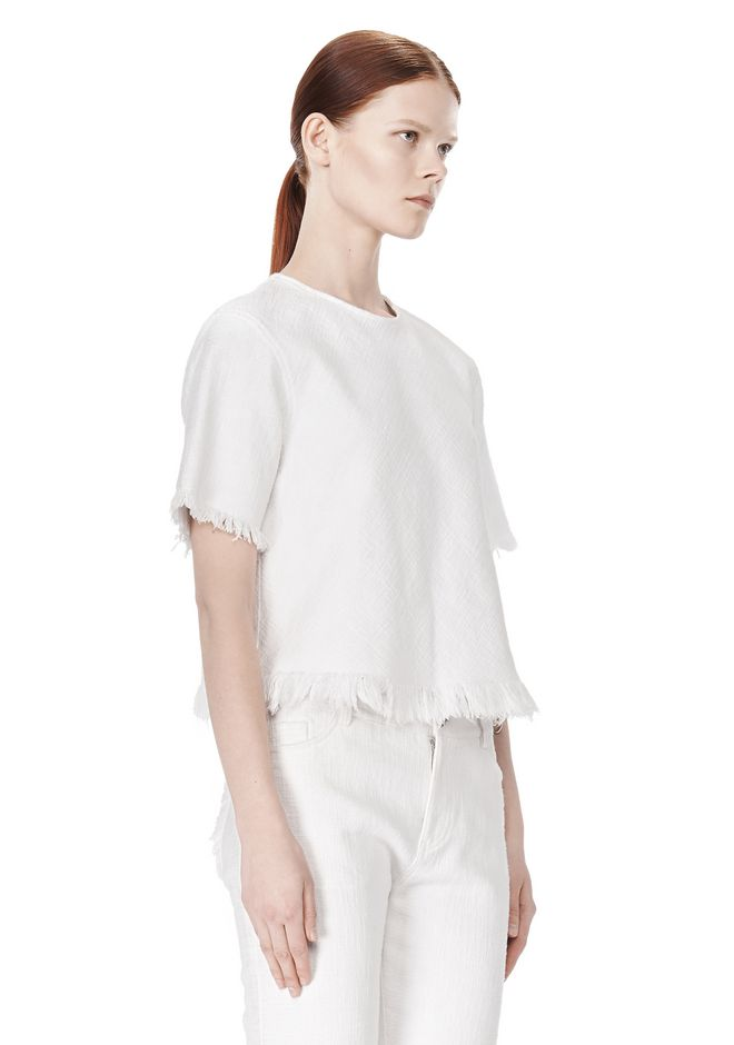 T by ALEXANDER WANG COTTON BURLAP TOP WITH FRAYED HEM TOP Adult 12_n_a