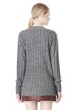 T by ALEXANDER WANG MERINO STRIPED V-NECK PULLOVER TOP Adult 8_n_d