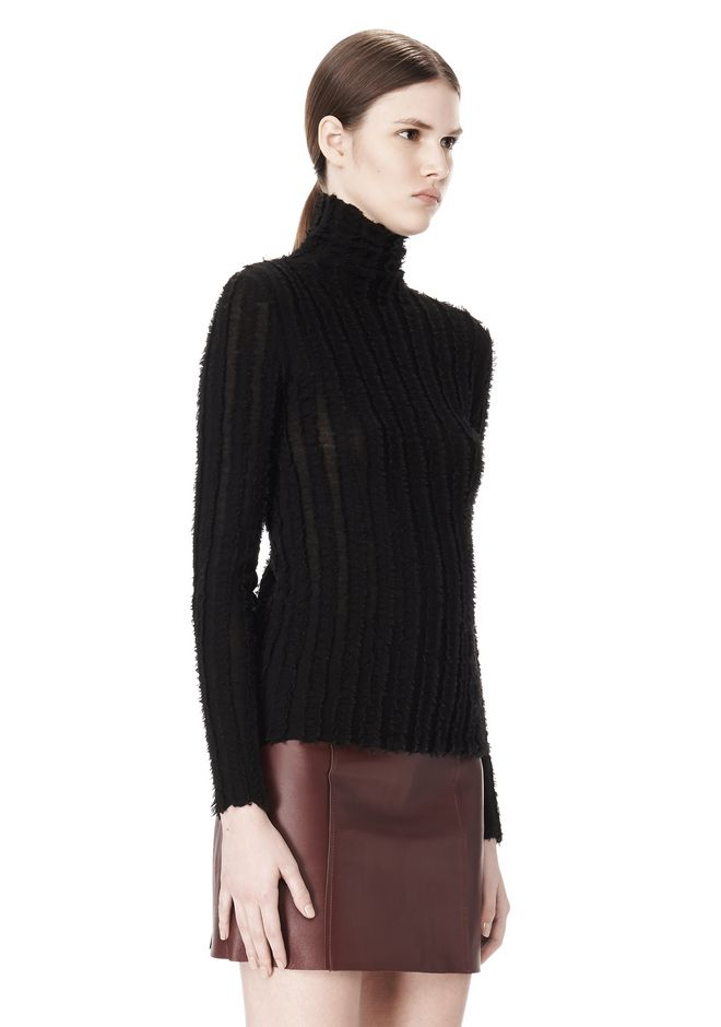 T by ALEXANDER WANG MERINO STRIPED TURTLENECK PULLOVER TOP Adult 12_n_a
