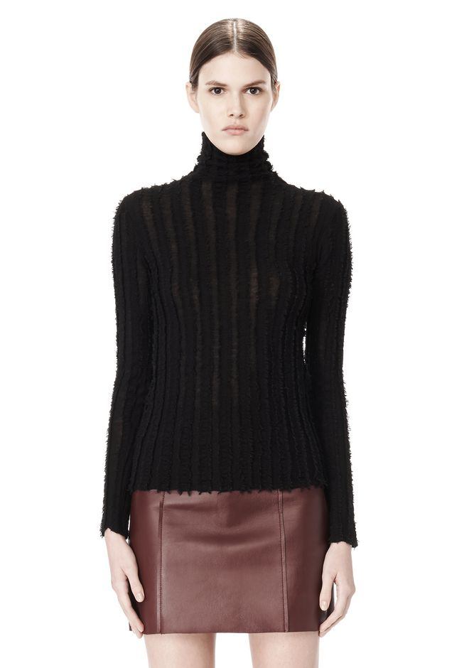 T by ALEXANDER WANG MERINO STRIPED TURTLENECK PULLOVER TOP Adult 12_n_e