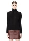 T by ALEXANDER WANG MERINO STRIPED TURTLENECK PULLOVER TOP Adult 8_n_e