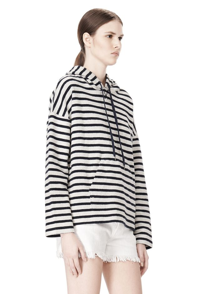 T by ALEXANDER WANG STRIPED FRENCH TERRY HOODED SWEATSHIRT TOP Adult 12_n_a