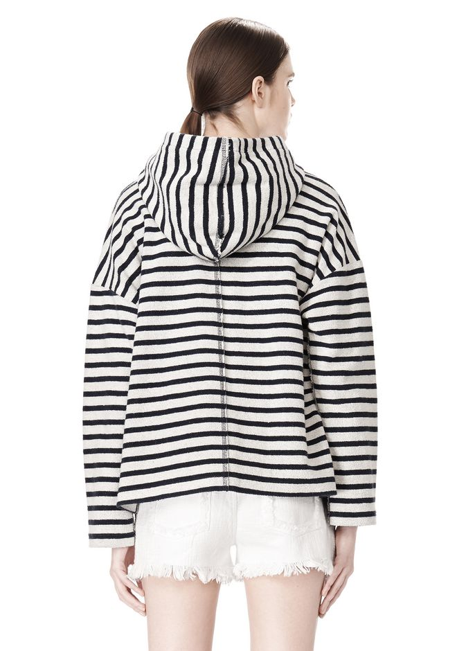 T by ALEXANDER WANG STRIPED FRENCH TERRY HOODED SWEATSHIRT TOP Adult 12_n_d